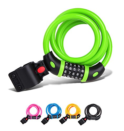 Tonyon Bike Lock Cable Long Mountain bike lock High elastic steel cable Anti-theft Bicycle lock ring Coiling Resettable Combination Cable bicycle lock TY01 (green)