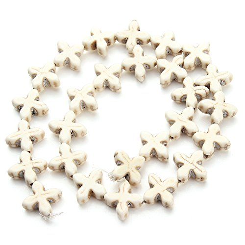 Approx.29pcs/Pack 1.5cm1.5cm0.6cm Loose Spacer Seed White Cross Created Stone Beads Jewelry Making DIY Accessories