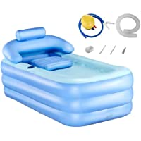 Tech-l Bañera Inflable Bañera Plegable portátil de plástico Bañera remojada Bañera SPA para el hogar con Bomba de Aire de Pedal, Azul