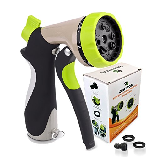 (Zibpros Garden Hose Nozzle Spray Nozzle, Heavy Duty 8 Adjustable Watering Pattern - Metal Water Nozzle with 2 Washers & 1 Quick Connector, for Spraying Plants, Cleaning, Car Wash and Showering Pets)