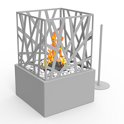 Regal Flame Bruno Ventless Indoor Outdoor Fire Pit Tabletop Portable Fire Bowl Pot Bio Ethanol Fireplace in Gray - Realistic Clean Burning like Gel Fireplaces, or Propane Firepits (Fireplace Propane Indoor)
