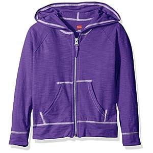 Hanes Little Girls' Slub Jersey Full Zip Jacket, Purple Crush, Large