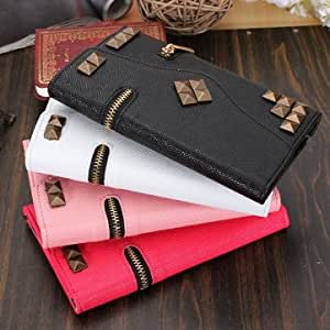 Zipper PU Leather Card Wallet Case For Samsung Galaxy Note 3 N9000 & Color = Pink