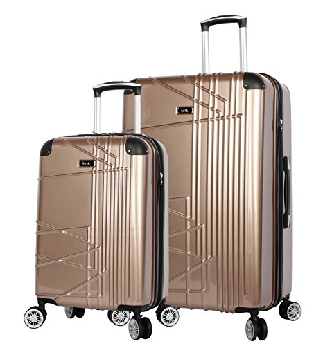 Nicole Miller Trixy 2-Piece Expandable Hardside Upright Luggage Spinner Set: 28'' and 20'' (Rose Gold) by Nicole Miller