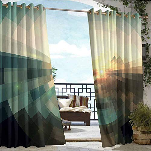 Outdoor Grommet Window Curtain,Abstract,Blurred Squares with Conicentric Focus and Abstract Landscape Background,Redwood Sky Blue,Grommet Top Insulated Drapes for Pavilion/Gazebo/Deck,72