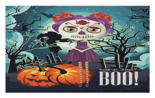 Lunarable Halloween Doormat, Cartoon Girl with Sugar Skull Makeup Retro Seasonal Artwork Swirled Trees Boo, Decorative Polyester Floor Mat with Non-Skid Backing, 30 W X 18 L Inches, Multicolor