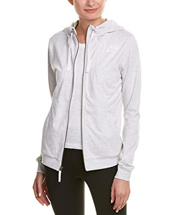 ea11d7356 Nike Womens Gym Classic Full Zip Hooded Sweatshirt Birch Heather/Sail  924081-051 Size