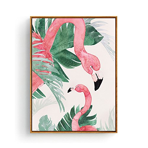 - Hepix Flamingo Canvas Wall Decor Green Leaves Tropical Palm Wall Art Watercolor Modern Framed Canvas Wall Paintings for Home Office