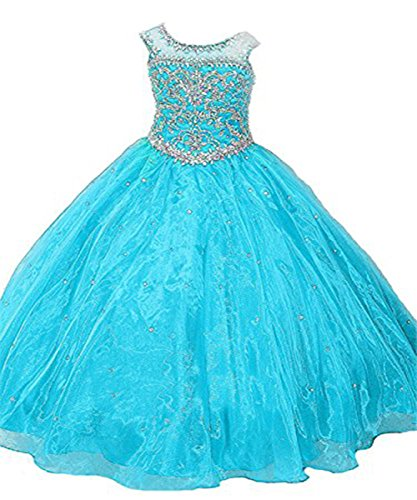 GreenBloom Girl's Birthday Party Ball Gown Crystals Floor Length Pageant Dresses 6 Turquoise