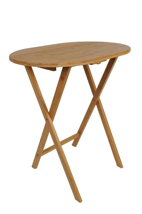 Spetebo Mesa Auxiliar de bambú Plegable - Ideal Mesa pequeña para ...