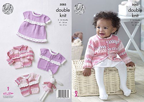Long Cardigan Knitting Pattern - King Cole Baby Double Knitting Pattern Dress & Long or Short Sleeved Frilly Cardigans (5085)