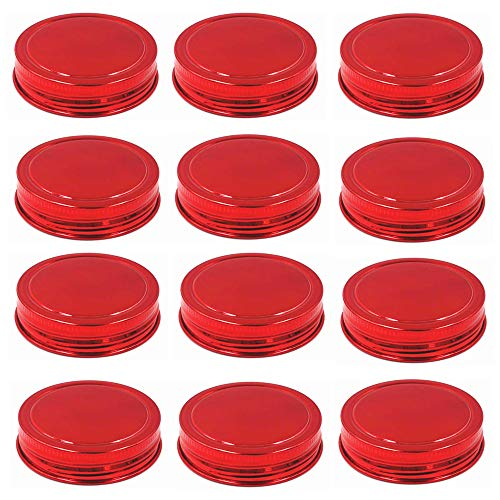 CHBKT Stainless Steel Red Mason Jar Lids, Storage Caps with Silicone Seals for Wide Mouth Size Jars, Polished Surface, Reusable and Leak Proof, Pack of 12