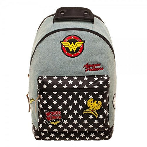 DC Comics Wonder Woman Denim Backpack w/Patches (Best Backpack For Comic Con)