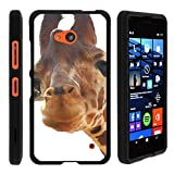MINITURTLE Case Compatible w/ Microsoft Lumia 640 Phone Case, Perfect Fit Snap on Hard Cell Phone Cover Adorable Animal Design Cute Giraffe CloseUp