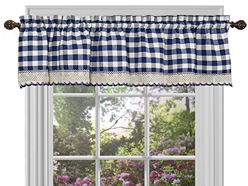 Sweet Home Collection Buffalo Check Gingham Kitchen Curtain Valance, 0, Navy