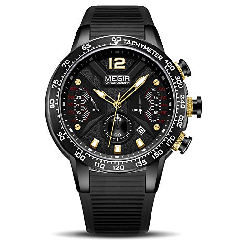 - MEGIR Men's Analogue Army Military Chronograph Luminous Quartz Watch with Stylish Black Silicone Strap for Sport & Business Work 2106