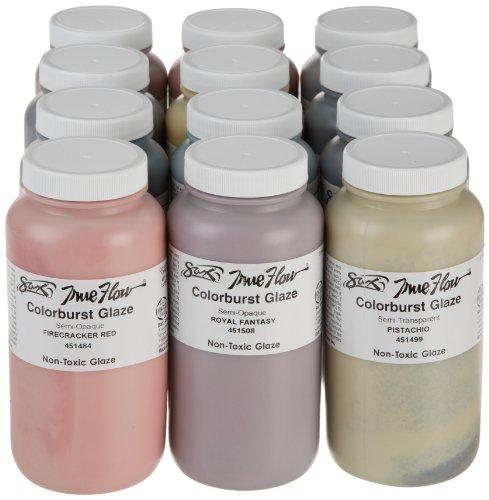 Sax True Flow Colorburst Glaze Set, Assorted Colors, Set of 12 - Paint Fire Glaze