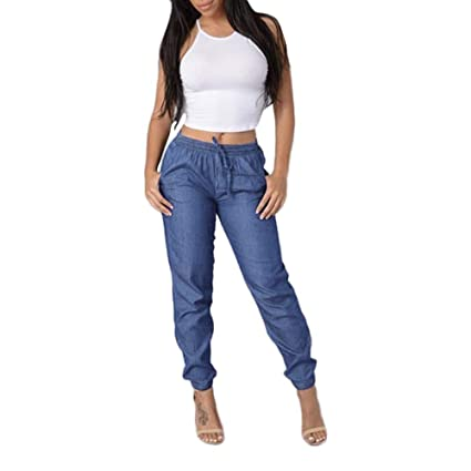 4798c4483d Amazon.com: Hot Sale🔥Women Pants Quaanti Womens Casual Blue Denim Pants  Fashion Elastic Waist Pants High Waist Jeans (Dark Blue, M): Arts, Crafts &  Sewing