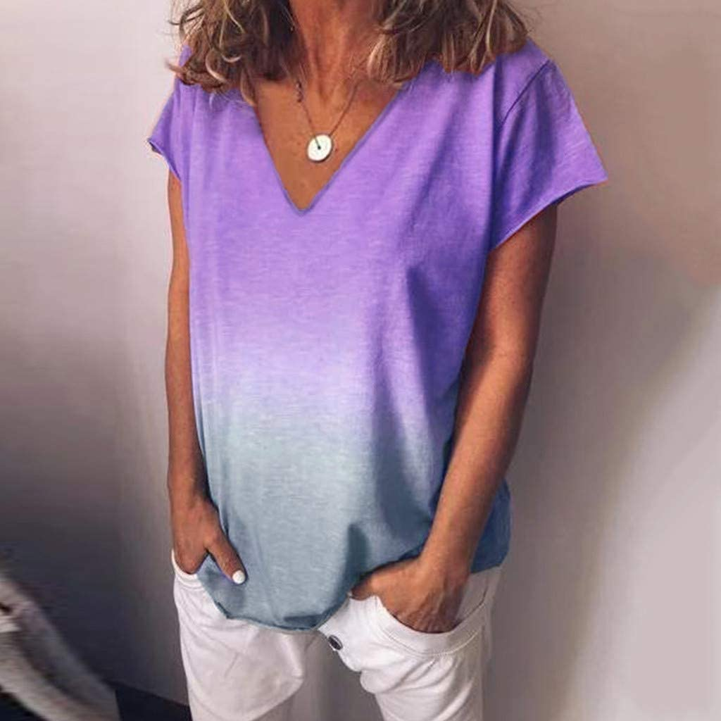 Womens Short Sleeve T Shirt V Neck Loose High Low Tee Shirts LIM/&Shop Tie Dye V Neck Summer Casual Tunic Tops Comfy