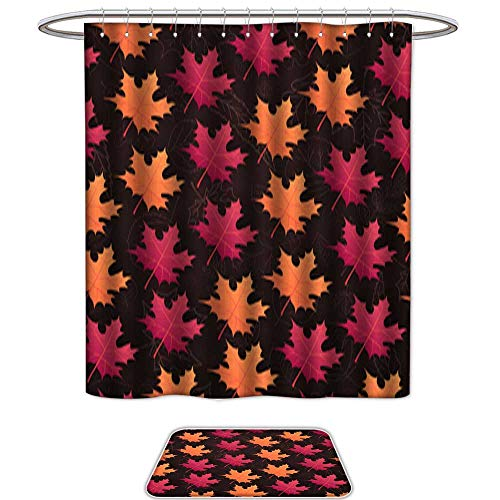Bathroom Sets Non SlipAutumn Background with leaves for shopping sale or promo poster and frame leaflet or web banner Vector illustration template 11111. Bath Mats ic,Shower Curtain,12pcs Metal Hook -