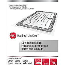 GBC HeatSeal UltraClear Thermal Laminating Speed Pouches, Letter Size, 5 mm Thickness, 11.5 x 9 Inches, Clear, 100 Pouches per Pack (3200587)