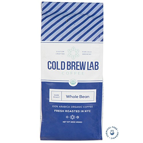 Cold Brew Lab Organic Coffee Crafted for Cold Brewing, Whole Bean, Dark Roast, 1 LB Bag