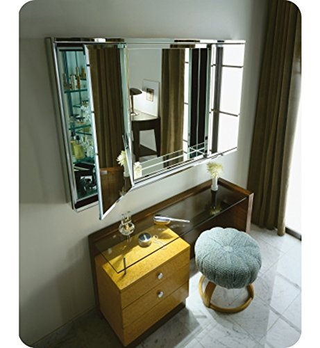 Robern BIC4838L Two Flat Beveled Mirrored Doors With Inset Mirror In Center, 38-1/8