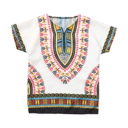 Youmymine Toddler Baby Boy Girl Short Sleeve Tops Summer Unisex Bright African Style Color Child Dashiki T-Shirt (7-8 Years, White)
