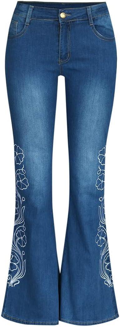 SCHOLIEBEN Femmes Broderie Destoryed Flare Jeans Bouton Taille Bell Bottom Denim Pants Jean Bootcut Femme Jean Evas/é Pantalons Grande Taille Jean Taille Haute avec des Poches D/éContract/é