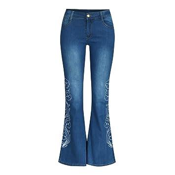 Mujer Vaqueros De Cintura Alta Jeans Largos Denim ...