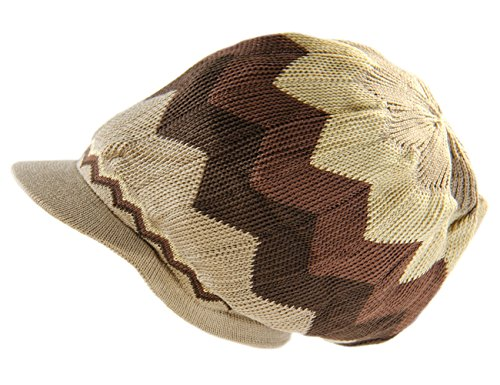 RW 100% Cotton Rasta Dreadlock Light Weight Beanie Visor (Khaki/Brown)