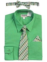 Gioberti Boy's Long Sleeve Dress Shirt and Plaid Tie Accessories Set