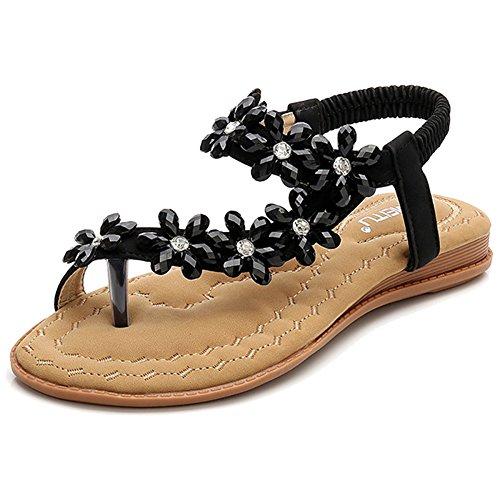 Summer Bohemia Clip Sandalias De Dedo del Pie Boho PU Leather Beach Chanclas Piso Elástico T-Strap Post Thong Sandalias Zapatos para Mujer Black