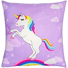 OurWarm 18 x 18-Inch Unicorn Throw Pillow Covers Decorative for Kids Birthday Home Decorations, Soft Polyester Rainbow Cushion Cover
