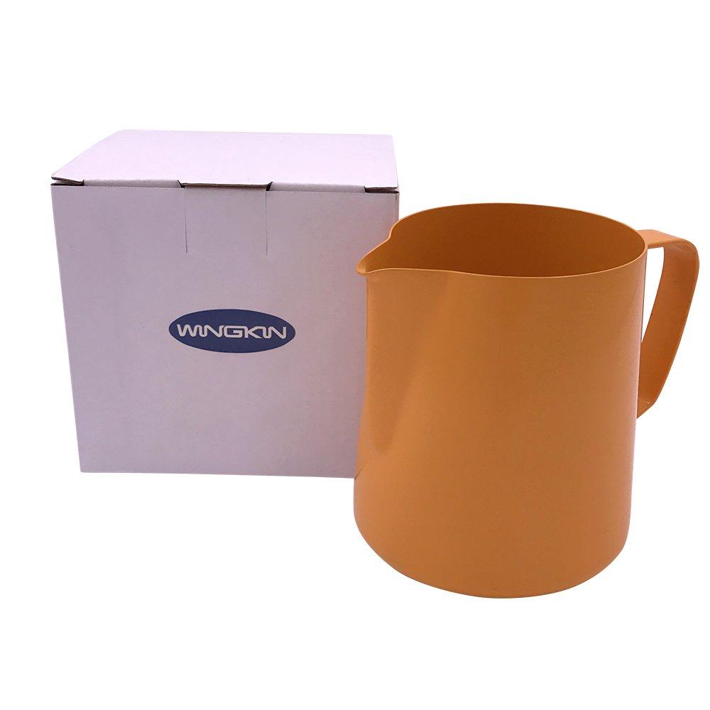 Wingkin 20oz Cappuccino Coffee Milk Jug Vintage Orange Non-stick Teflon with Spout Good for Cold / Hot Water Milk Tea Liquid Pouring