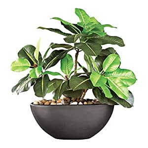 Rubber Tree Maintenance-free Artificial House Plant With Ceramic Pot, Black 14