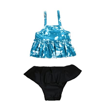 Qin Bikini Traje de baño Infantil con Volantes Azul Floral 2 ...
