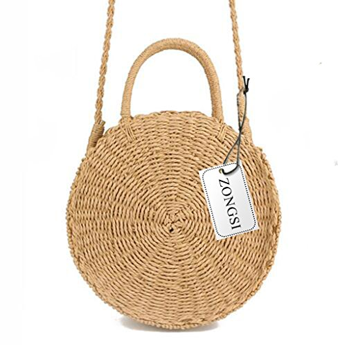 Zognsi Round Straw Beach Bag Summer mini Vintage Handmade Crossbody Bag Circle Rattan bag Small Bohemian Shoulder bag for women (Khaki 2) by Zongsi