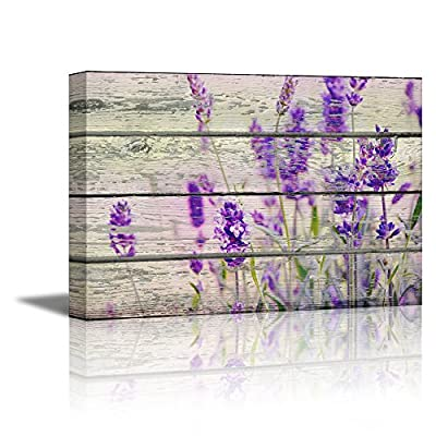 Canvas Prints Wall Art - Retro Style Purple Flowers on Vintage Wood Background Rustic Home Decoration - 16
