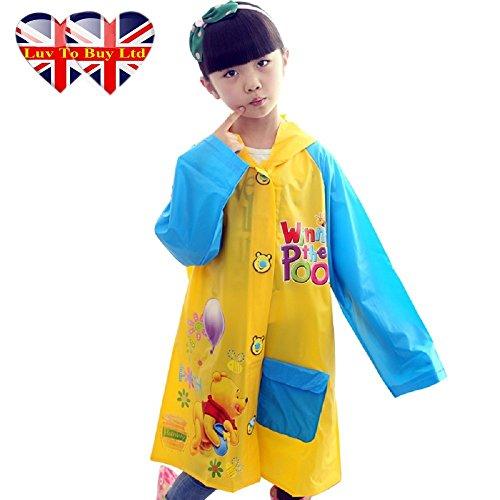 Winnie The Pooh Raincoat/,Children Raincoat , Waterproof.(4 Sizes : S , M , L , XL) (XL) (Kids Fancy Dress Next Day Delivery)