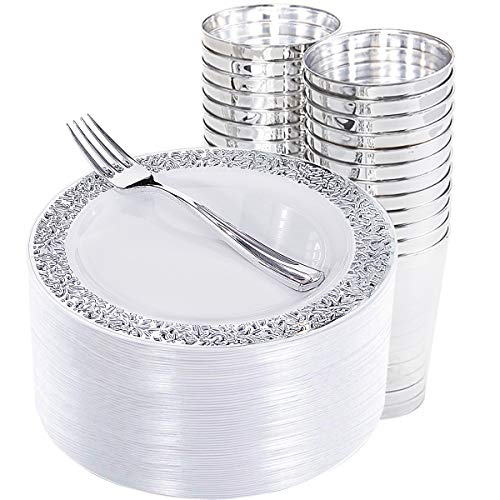 150 Pieces Silver Salad Plates with Plastic Cups and Silver Forks, Elegant Disposable Appetizer Plates with Silver Laced Edge, Includes: 50 Dessert Plates 7.5