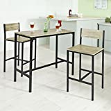 Haotian OGT03,Sling High Bistro Set,Home Kitchen Outdoor Garden Bar Set,Patio Furniture, Bar Set-1 Bar Table and 2 Stools
