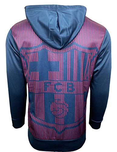Barcelona Hoody - Fc Barcelona Hoodie for Adults and Kids Zip Front Fleece Sweatshirt Jacket Blue, Big Barcelona Logo in The Back (Youth Medium 7-9 Years)