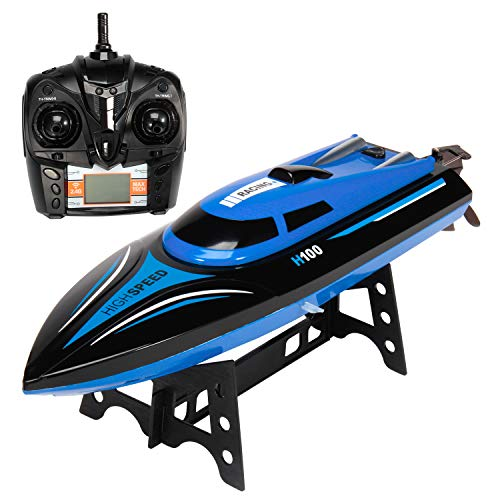 Geacool RC Boat High Speed Remote Control Boat Pool Toy with LCD Screen for Kids and Adults, H100 Classic Blue Racing Boat 2.4G Wireless Electric RC Toys for Lakes, Pools and Oceans + 2 Batteries
