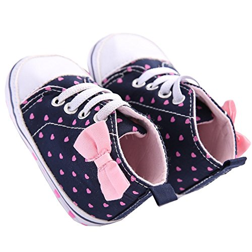 WAYLONGPLUS Infant Canvas Soft Sole Anti-Slip Prewalker Toddler Crib Shoes Love Print Sneaker (Pink Size (Little Girl Walking)