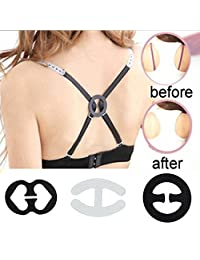 Cleavage Bra Strap Clips Converter For Hide Bra Straps (Black/Transparent)