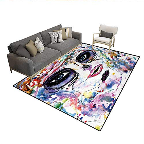 Carpet,Halloween Girl with Sugar Skull Makeup Watercolor Painting Style Creepy Look,Customize Rug Pad,MulticolorSize:5'x6']()