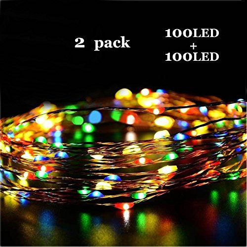 ONCIDIUM 2 Pack Fairy Light Battery Operated 33ft(10m) 100 LED String Lights Waterproof 4 Color Copper Rope Lights for Valentine's Day Bedroom Wedding Outside Garden Party Decorations]()