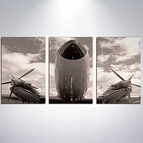 3 Panel Canvas Prints Wall Art for Home Decoration Vintage Airplane Decor Print On Canvas Giclee Artwork For Wall DecorTurboprop Airplane Nose Close Up View Cloudy Sky Aviation Histor