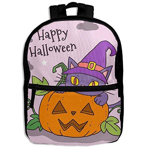 WEN7Q Halloween Cat Backpack School Bag Bookbag For Kids Boys Girls (Sock Monkey Halloween Makeup)